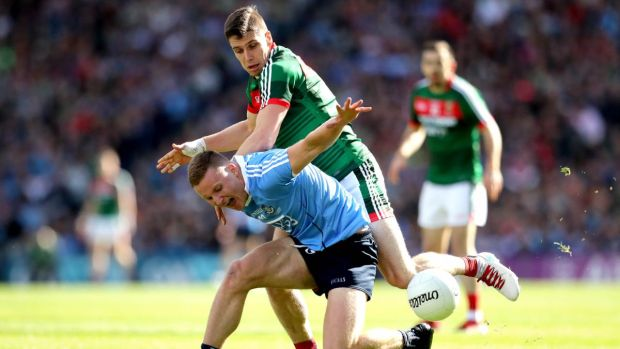 Lee Keegan of Mayo in action against Dublin's Ciarán Kilkenny during the 2017 All-Ireland Final. Photograph: Ryan Byrne/Inpho