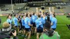 Dublin celebrate after the victory over Mayo in the All-Ireland Final at Croke Park. Photograph:  Dara Mac Dónaill