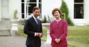 Prince Charles with president Mary Robinson at Áras an Uachtaráin on June 2nd, 1995. Photograph: Joe St Leger