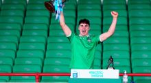 Limerick's Adam English lifts the trophy after they beat Tipperary to win the Munster MHC. Photo: Ken Sutton/Inpho
