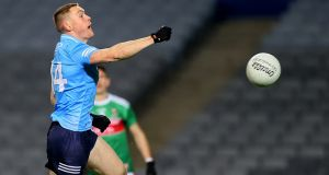 Dublin's Con O'Callaghan scoring his side's second goal at Croke Park. Photograph: James Crombie/Inpho