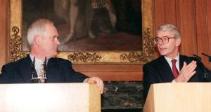 Taoiseach John Bruton and British prime minister John Major at Downing Street on November 28th, 1995. Photograph: Sean Dempsey/Pool/Reuters