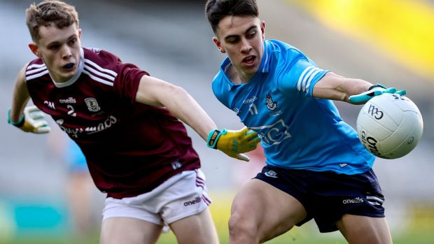 Dublin's Lorcan O'Dell with Jonathan McGrath of Galway in the All-Ireland under-20 football final in Croke Park. Photograph: Tommy Dickson/Inpho