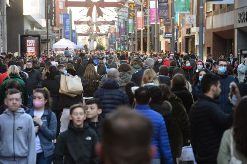 Shoppers on Henry Street, in Dublin city, the last Sunday before Christmas. Photograph: Dara MacDonaill/The Irish Times