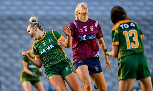 Vikki Wall of Meath celebrates after scoring her side's second goal during the TG4 All-Ireland Intermediate Ladies Football Championship Final match between Meath and Westmeath at Croke Park in Dublin. Photograph: Brendan Moran