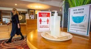 Hand sanitiser in the reception area at the White Horse Hotel on the outskirts of Derry on November 5th. Photograph: Paul Faith/Bloomberg
