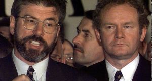 Sinn Féin president Gerry Adams (L) with Martin McGuinness at the King's Hall in Belfast on May 23rd, 1998. File photograph: Max Nash/AP Photo