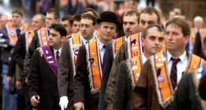 Orangemen on parade  in Portadown in 1999. File photograph: Paul Faith/PA