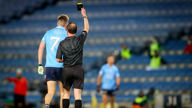 Robert McDaid is shown a black card by referee David Coldrick. Mayo had been so brave up to this point and maybe it was the time to just go for it. But they opted to play it safe and elected for a sweeper in Michael Plunkett. Photograph: James Crombie/Inpho