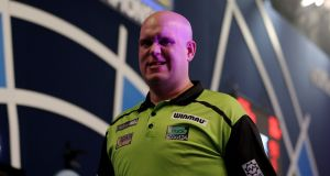 Michael van Gerwen will remain in London over Christmas due to travel restrictions. Photograph: Steven Paston/PA Wire