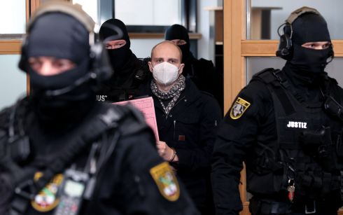 LIFE SENTENCE: Stephan Balliet (28), has been sentenced to life imprisonment at the district court in Magdeburg, eastern Germany, for shooting dead a woman and a man at a kebab shop after he failed to access a synagogue in a far-right attack in Halle an der Saale, eastern Germany, last year. Photograph: Ronny Hartmann/AFP/Getty