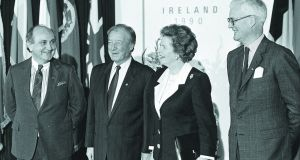 Minister for foreign affairs Gerry Collins, taoiseach Charles Haughey, British prime minister Margaret Thatcher and British foreign secretary Douglas Hurd