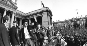 The Ireland soccer team are greeted by some 500,000 fans at College Green following their World Cup campaign in 1990. Photograph: Frank Miller