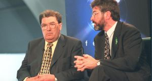 SDLP leader John Hume and Sinn Féin president Gerry Adams in Belfast in 1998. Photograph: Frank Miller