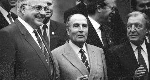 West German chancellor Helmut Kohl, French president François Mitterand and taoiseach Charles Haughey at the European Community summit in Dublin in March 1990