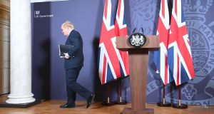 British prime minister Boris Johnson leaves a media briefing in Downing Street, London, on the agreement of a post-Brexit trade deal, on Thursday. Photograph: Paul Grover/Daily Telegraph/PA Wire