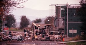 Aftermath of the 1990 IRA car bomb attack in Derry when five  soldiers died and van driver Patsy Gillespie was also killed. File photograph: Pacemaker