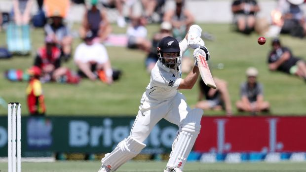 New Zealand captain Kane Williamson plays a shot during the second day of the first Test match against Pakistan at the Bay Oval in Mount Maunganui. Photograph: Michael Bradley/AFP via Getty Images
