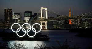 The Olympic rings monument at Odaiba Marine Park in Tokyo in March 2020, the month in which organisers agreed to postpone the games until 2021. Photograph: Franck Robichon/EPA