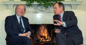 Former taoiseach Charles Haughey  with former US president George Bush in the Oval Office