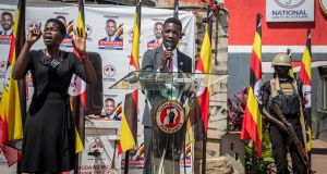 Ugandan presidential candidate Bobi Wine, aka Robert Kyagulanyi, speaks at a press conference in Kampala on Tuesday. Photograph: Sally Hayden