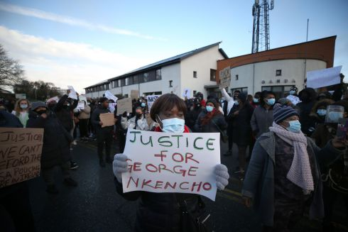 Protestors gathered at Blanchardstown Garda Station this morning in support of George Nkencho (27) who was shot dead by gardai during an incident in west Dublin yesterday afternoon. Photograph Nick Bradshaw / The Irish Times