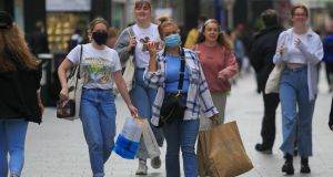 Members of the public wearing face masks on Grafton Street, Dublin, in  August. Photograph: Gareth Chaney/Collins