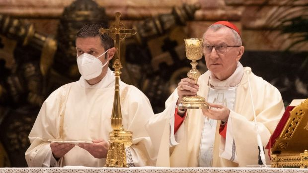 Cardinal Pietro Parolin celebrates a New Year Mass in St Peter's Basilica at the Vatican. Photograph: Alessandra Tarantino/EPA