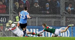 Dublin's Paddy Andrews is denied by David Clarke straight after saving a penalty during the 2017 league encounter at Croke Park between Mayo and Dublin. Photo: Tommy Dickson/Inpho