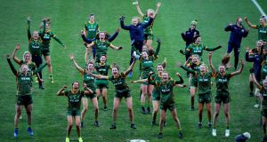 Meath celebrate winning with the trophy after beating Westmeath in the TG4 All-Ireland Ladies' Intermediate Football Championship Final at Croke Park. Photograph: Ryan Byrne/Inpho