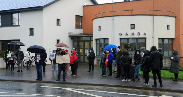Demonstrators  during a protest for George Nkencho at Blanchardstown Garda station, Dublin on Tuesday. Photograph: Gareth Chaney/ Collins