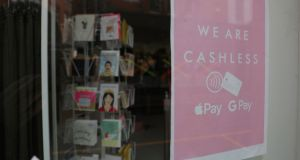 Card payment only signage at the Oliver Bonas store in Dublin city centre. Photograph: Nick Bradshaw
