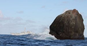 Irish naval vessel LÉ Róisín on a routine patrol off Rockall. Photograph: Irish Naval Service