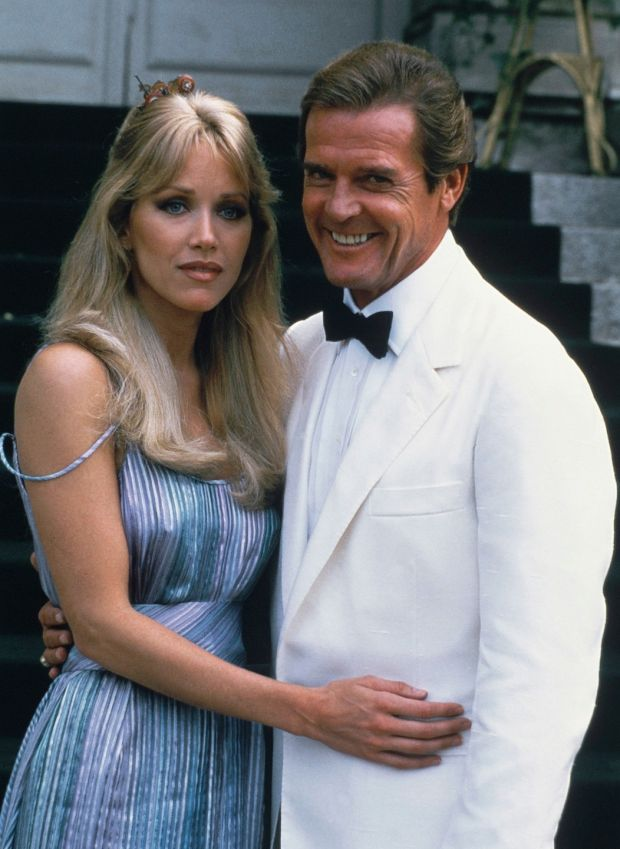 Tanya Roberts with Bond co-star Roger Moore in France in 1984. Photograph: Alexis Duclos/AP