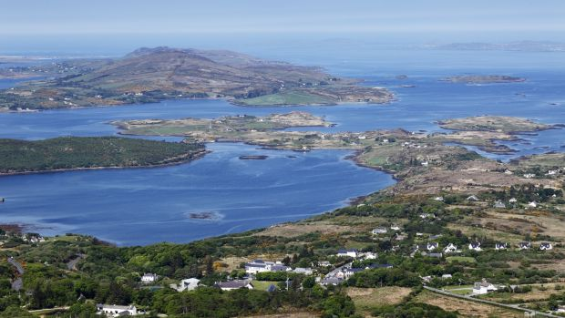 View from Diamond Hill over Letterfrack and Ballynakill Harbour, Co Galway. Photograph: Getty