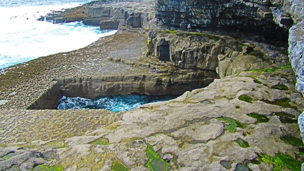 Poll na bPéist (the worm hole or serpent's lair) on Inis Mór is renowned as the magical setting for the Red Bull diving competition.