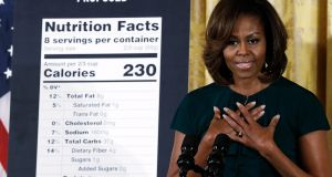 As US first lady, Michelle Obama advocated for modernisation of the nutrition label. Under President Donald Trump, the FDA rolled back the new regulation. Photograph: Win McNamee/Getty Images
