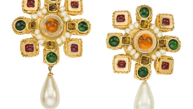 Chanel gripoix glass and faux pearl earrings $800-$1,200.