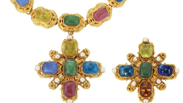 Chanel gripoix glass necklace and brooch $3,000-$5,000.