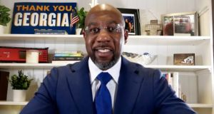 Rev Raphael Warnock, US Democratic Senate candidate, looks set to secure victory in one of the seats in the runoff election in Georgia. Photograph: EPA