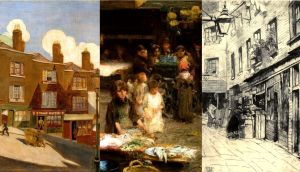 Painting Dublin: detail from Winetavern Street, 1934, by Harry Kernoff; The Fishmarket, Patrick Street, 1893 by Walter Frederick Osborne; The Leinster Market, c.1915, by  Estella Frances Solomons,