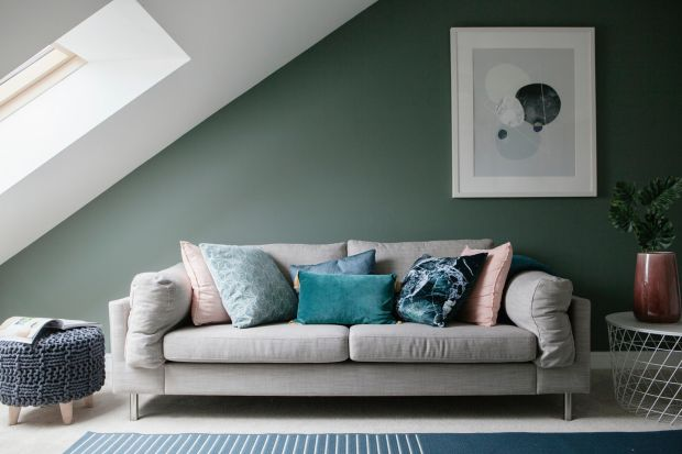 Nature-inspired palettes will dominate 2021 such as this sage-coloured attic. Photograph: Ruth Maria Murphy