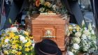 Liam Reilly's signature hat lies beside his coffin in a hearse outside St  Joseph's Redemptorist Church, Dundalk, Co Louth. Photograph: Colin Keegan/Collins Dublin