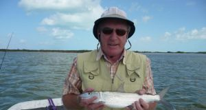 Derek with a bonefish from the Marls in Abaco, Baha
