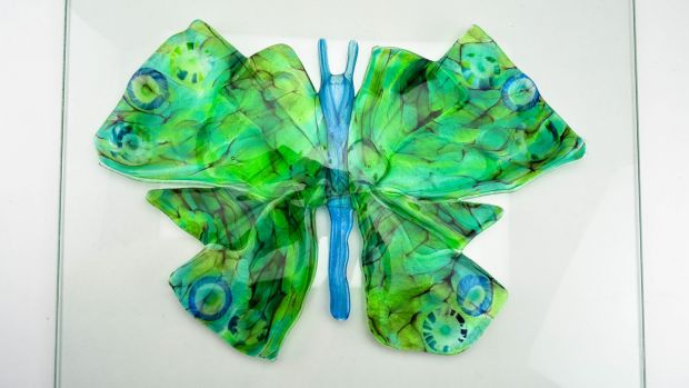 A butterfly fashioned from recycled glass by Kathleen Leadbetter of Jerpoint Glass Studio in Co Kilkenny