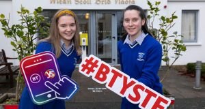 Participating students Ali O' Donoghue and Eilís Mullane, students from St Brigid's Secondary School, Killarney, Co Kerry and their project 'Vertical Farming -The Future of Healthy Schools'.