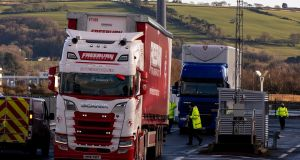 Lorries leave the Stena Line terminal at Belfast Harbour on January 1st. Photograph: Liam McBurney/PA Wire