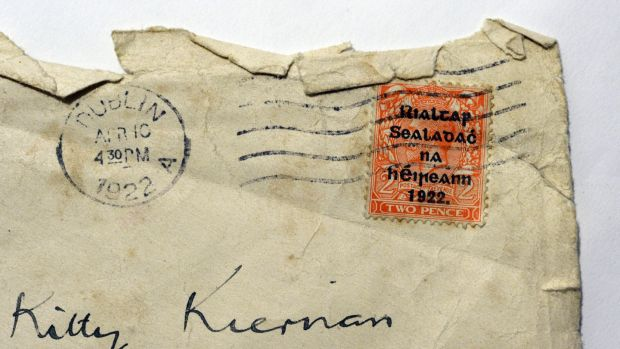 Post office stamp on a letter to Kitty Kiernan from Michael Collins in 1922. Photograph: Cyril Byrne
