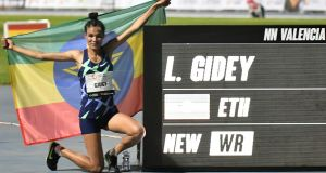 Ethiopian athlete Letesenbet Gidey  availed of new shoe technology to  break the 5,000m world record, setting a new time of  14 minutes 6.65 seconds, in Valencia last October. Photograph: Jose Jordan/AFP via Getty Images)