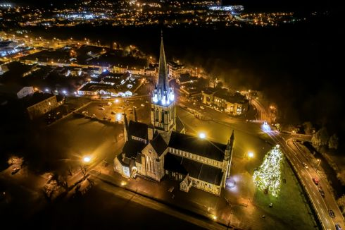 LIGHTS ON: The Californian Redwood tree on the grounds of St Mary's Cathedral, Killarney, will continue to shine for the month of January. The bulbs will stay lit until the end of the month, offering a sense of hope and bright days to follow amid the ongoing pandemic. Killarney parish administrator Fr Kieran O'Brien got together with Killarney Chamber of Tourism and Commerce members and president Niall Kelleher and the decision was made not to switch off the lights at the close of the Christmas season and rename it the Tree of Hope. Photograph: Valerie O'Sullivan